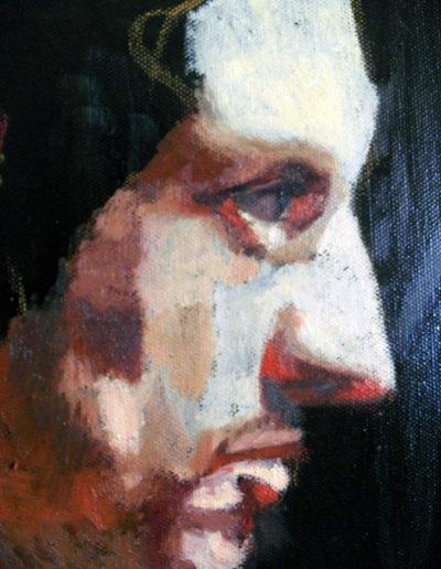 Particolare di autoritratto, olio su tela, cm. 70x100